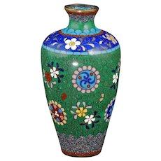 Japanese cloisonné Vase Floral Rondel Motif Meiji Period