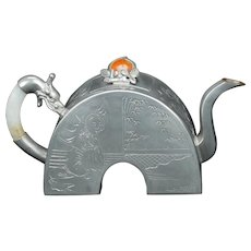 Chinese Late Qing Pewter, Jade and Carnelian Teapot with Dragon