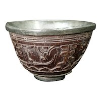 Chinese Carved Wood and Pewter Wine Cup 18th Century