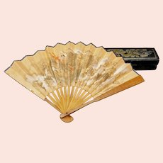 Hand-painted Chinese Fan with Leather Fan Box 19th Century