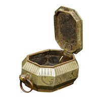Chinese Qing Paktong Tobacco Box with Script 19th Century