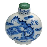 Chinese Blue and White Porcelain Dragon Snuff Bottle 19th Century