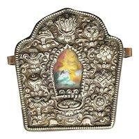 Tibetan 19th C Silver Gau Traveling Shrine Box with Fabric Case