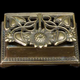 Art Nouveau Bronze Sunflower Stamp Box Circa 1900