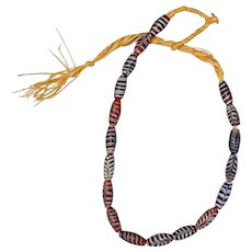 Genuine Venetian Red Feather Trade Beads on Rafia String