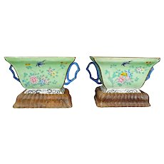 Matched Pair of Chinese Enamel on Copper Cache Pots/Planters with Stands Circa 1900