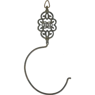 Chinese Qing Bronze and Iron Pot Hook with Shou 19th Century