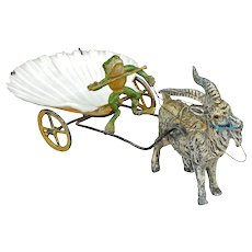Viennese Cold Painted Bronze Goat Cart with Frog Driver 19th Century