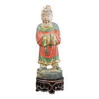 Chinese Carved Wood Altar God Possibly Ming
