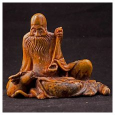 Chinese soapstone carving of Shoulao with water buffalo -19th century