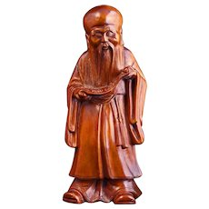 Fine late 19th C Chinese wood carving of immortal Shou lao