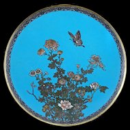 """Japanese Meiji 12"""" cloisonné charger with a butterfly, chrysanthemum and peony circa 1910"""