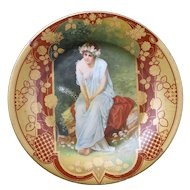 Victorian lithographed tin plate with lady in garden late 19th century