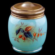 Victorian painted fluorescing glass inkwell with brass lid 19th century
