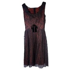 Vintage 1950s wine-colored Sears Cocktail Dress with black Chantilly lace Size 10