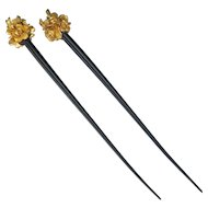 Matching Pair of Vintage plastic Japanese Gilded hair Ornaments with lotus blossoms