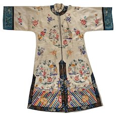 Antique Chinese Cream Colored Silk Woman's Robe Late Qing