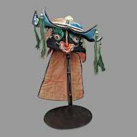 Chinese Child's Animal Silk Hat with Tassels Circa 1900