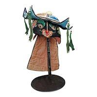 Chinese Child's Animal Silk Hat with Tassels Circa 1900