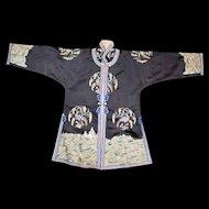 Chinese small black silk women's robe with satin stitch pheasant and grain design circa 1900