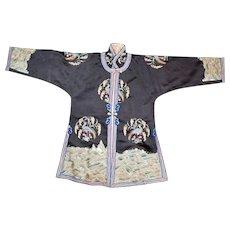 Chinese small black silk women's robe with pheasant and grain design circa 1900
