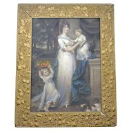 """Framed Antique English Mezzotint print """"Mrs Scott Waring and Children"""" by John Russell with gilded frame c 1804"""