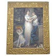 "Framed Antique English Mezzotint print ""Mrs Scott Waring and Children"" John Russell c 1804"