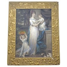 "Framed Antique English Mezzotint print ""Mrs Scott Waring and Children"" by John Russell with gilded frame c 1804"