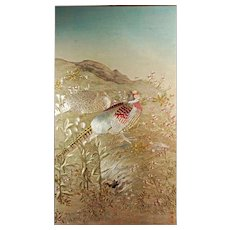 Vintage Korean Embroidered Panel of pheasants on silk mid 20th C