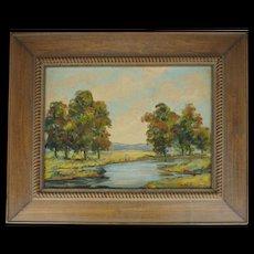 Framed oil on canvasboard Catskills landscape by Elizabeth Stevens Street