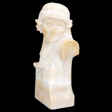 Italian Marble Bust of a Young Girl with Wool Scarf circa 1920