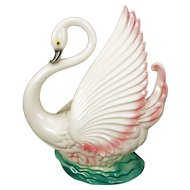 Mid-century swan Maddux TV lamp with pink and green circa 1959
