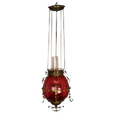 Large Vintage Cranberry Glass Hanging Kerosene Parlor Lamp