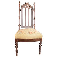 Antique Gothic Revival Carved Mahogany Side or Parlor Chair c 1850