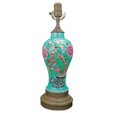 Nyonya Ware Lamp with Phoenix Design Late Qing