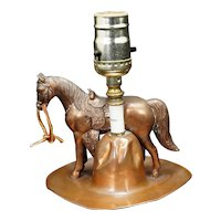 Mid-Century Cowboy Lamp with Hat and Horse Circa 1950