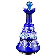 Victorian blue glass barber bottle with enamel design late 19th century