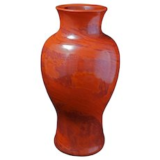 Large urn shaped Chinese realgar Peking glass vase late 19th century