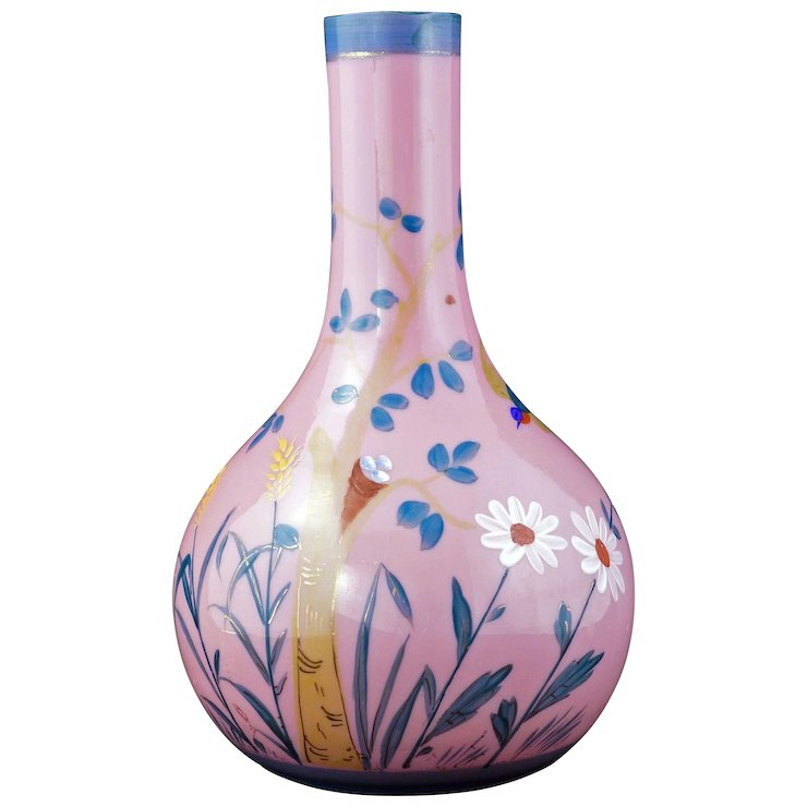 Victorian Pink Glass Vase With Hand Painted Bird And Nest Design