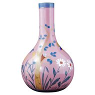 Victorian pink glass vase with hand-painted bird and nest design late 19th century