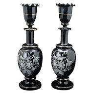 Pair of matching Victorian Bristol amethyst glass lidded vases late 19th century