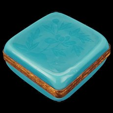 Chinese turquoise Peking glass box with etched peony design circa 1900