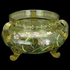 Moser pale yellow enameled glass circular handled vase or bowl late 19th century