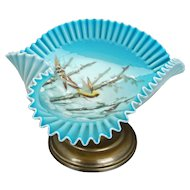 Victorian crimped blue glass painted pedestal dish or card receiver