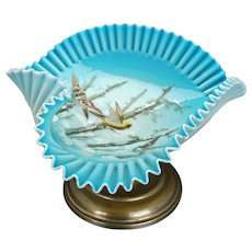 Victorian crimped edge, hand blown, pale blue cased glass, hand painted pedestal dish or card receiver circa 1900
