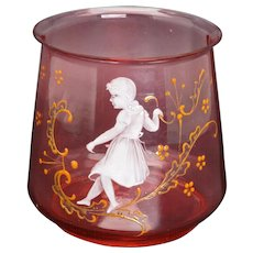 Mary Gregory decorated cranberry glass small vase rose bowl late 19th century