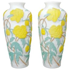 Large Matched Pair of Consolidated Glass Vases with Yellow Circa 1930
