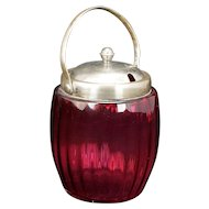 Victorian Cranberry Glass Ribbed Biscuit Jar Circa 1900