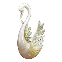 Large Mid Century Glass Swan in Gold Fleck and Pink Circa 1950