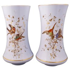 """Pair large 12"""" tall European pale blue Bristol glass vases with bird designs 19th century"""